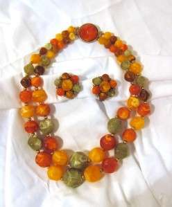 Vintage Kramer Matte Swirl Bead Necklace, Earrings Fall Colors Green