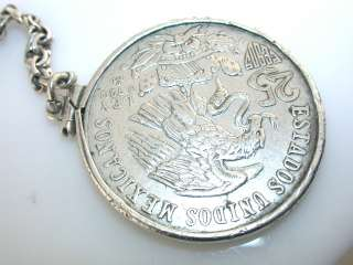 Vintage MEXICAN COIN STERLING KEY CHAIN OLYMPIC 1968