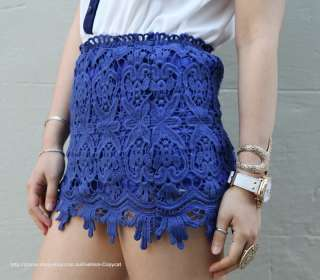 BLUE FLORAL CROCHETED LACE TUBE MINI PENCIL HIGH WAISTED SCALLOPED