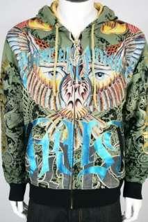 BNWT CHRISTIAN AUDIGIER Phoenix Eyes Jacket Hoodie BLK
