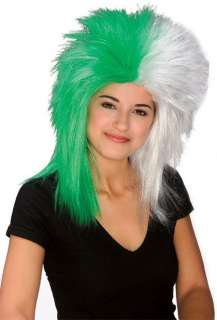 Sports Fanatic Wig in Green and White   Sports Costume