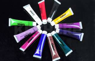 12 Colors 3D Nail Art Gel Paint Brush Tube Acrylic Tips