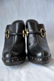 GUCCI Black LEATHER+Brown Gold HORSEBIT CLOG Platform Heel Sandal