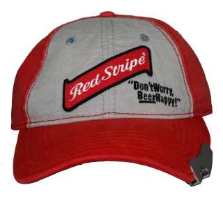 Red Stripe Beer Happy Alcohol Bottle Opener Adjustable Baseball Cap