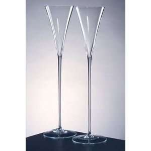 10 Crystal Pair Champagne Flutes Glasses Oversized Modern