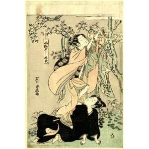 1764 Japanese Print woman (possibly the Tennin, an aerial