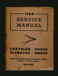1960 Chrysler Plymouth Dodge DeSoto Service Manual CDN