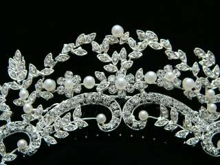 Bridal Wedding Swarovski Crystal Pearl Tiara Comb 4220