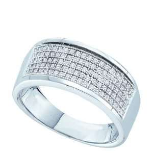 Band 10K White Gold .30 Carat Total Sparkling Diamond Band Jewelry