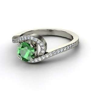 Wave Ring, Round Emerald 14K White Gold Ring with Diamond