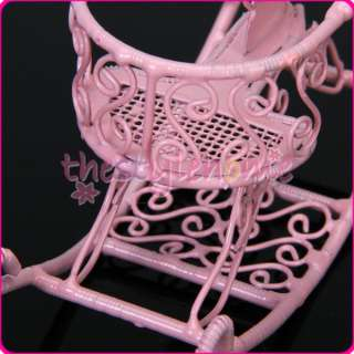 Dollhouse Miniature 1/ 12 Pink Wire Baby Rocking Horse