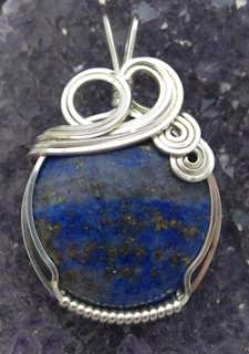 Lapis Lazuli Blue Gemstone Sterling Silver Wire Wrapped Pendant