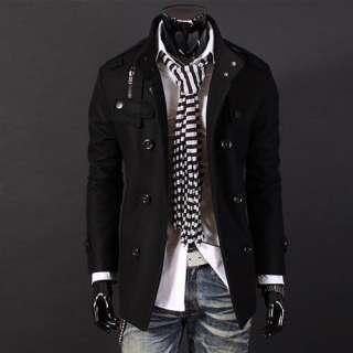 NWT Mens Stylish Double Breasted Wool Coat M L XL XXL