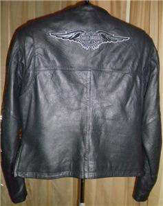 Harley Davidson Leather Jacket Vtg Medium Embroidered Wings