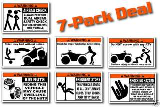 Pack Utility ATV Funny Warning Stickers 4x4 Decal