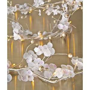 White Cherry Blossoms Lighted Garland (battery operated LEDs)