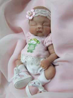 OOAK Sculpted Sleeping Baby Girl Polymer Clay Art Doll Poseable