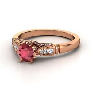 Elizabeth Ring, Round Ruby 14K Rose Gold Ring with Diamond Jewelry