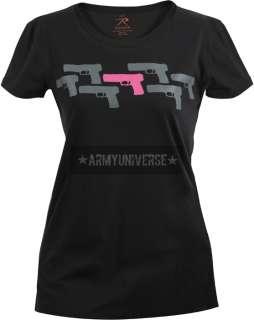 Black Pink Guns T Shirt (Womens)