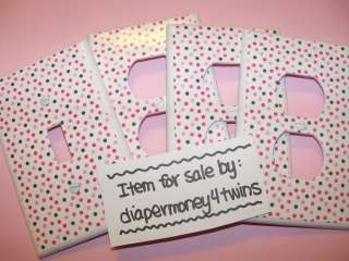 PINK BLACK POLKA DOTS   4 pc Kids Room Switchplate Light Switch Cover
