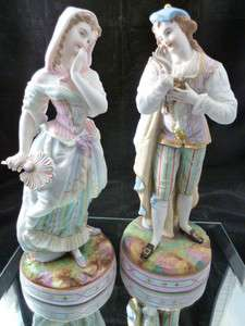 Bisque Porcelain ANTIQUE LARGE STATUES COUPLE MAN WOMAN FRENCH