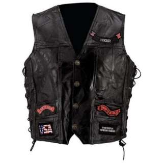 NEW Mens Black Leather Motorcycle Vest 14 Patch Eagle