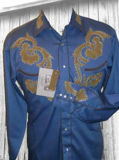 6748bu VTG Rockmount Western Cowboy Shirt Suede Leather Trim 2X