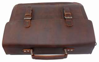 Rustic Vintage Men Genuine Cowhide Leather Briefcase Messenger Laptop