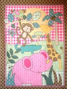 New Elephant Monkey Giraffe Fabric Panel Animal Baby Nursery