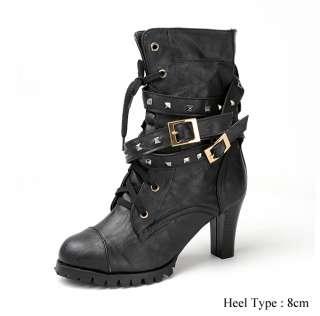 New Womens Punk Rocker Studded Belt Boots US 8 9 10 11