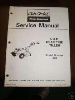 Cub Cadet 5HP Rear Tine Tiller Model 430Manual 772 4018