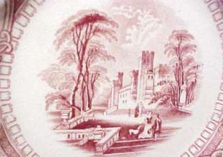 19th C Red Transferware Castle People Dog Formal Garden Romantic