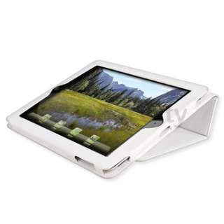 12 ACCESSORY FOR IPAD 2 White LEATHER CASE+SCREEN FILM
