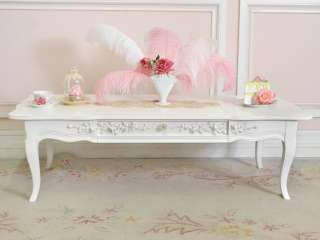 Shabby Cottage Chic White Coffee Table French Style 1 Drawer Drexel