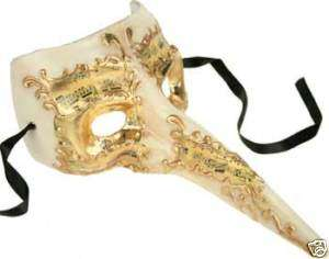 Venetian Mask Mardi Gras Casanova White Gold Halloween