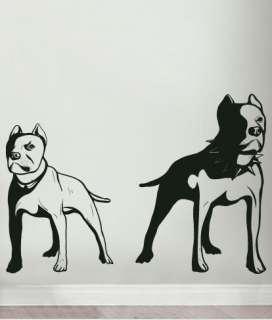 Vinyl Wall Decal Sticker Gangsta PitBull Dog Duo