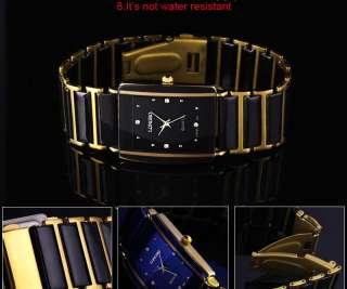 Fashion Crystal Wrist Steel Quartz Caramic Like Watch Black&Gold Women