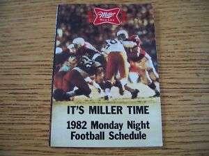 1982 NFL Monday Night Football Pocket Schedule Miller