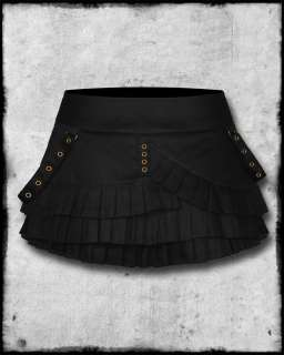 SPIN DOCTOR BLACK COPPER STEAMPUNK GOTHIC MINI SKIRT SZ