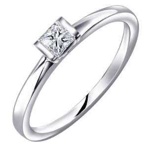 18K White Gold Bar Setting Princess Cut Diamond Ring (0.20