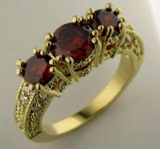 58ct Ruby In 14k Solid Yellow Gold Ring size 8 A+++ A27