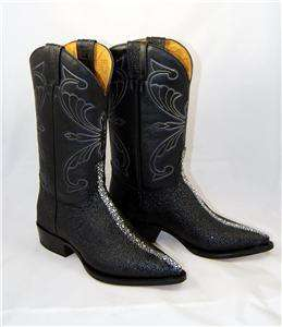 WOMENS WESTERN COWBOY BOOTS IMITATION EXOTIC MANTA RAY BLACK LEATHER