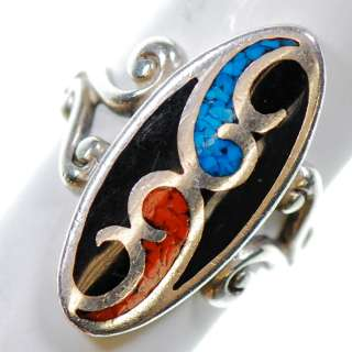Vintage Sterling Silver   Crushed Turquoise Red Lapis   Ring 6 XB172