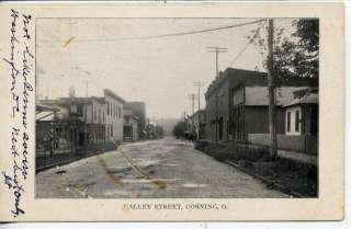 VINTAGE POSTCARD CORNING OHIO DOWNTOWN STREET SCENE OH. |