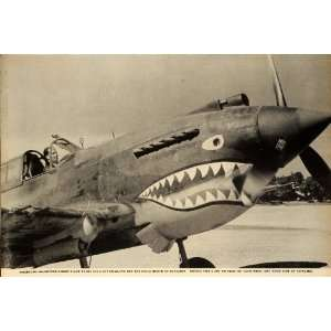 1942 Print WWII Curtiss P 40 Warhawk Fighter Aircraft
