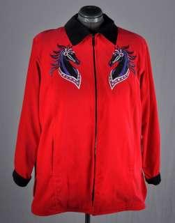 NWT BOB MACKIE Wearable Art Red Velvet Zipper Jacket w/ Embroidered