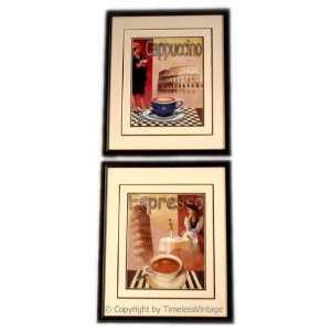 Set 2 Italian Coffee Framed Wall Art Kitchen Decor