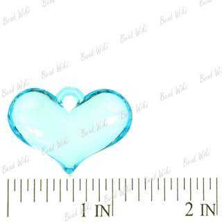 Blue Heart Love Acrylic Plastic Beads Pendants AR0134