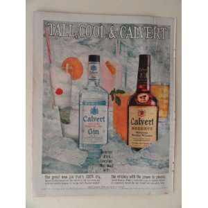 Calvert Whiskey and Gin. 1960 full page print ad(tall,cool
