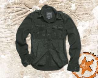 VINTAGE MILITARY ARMY MENS LONG SLEEVE COTTON SHIRT, BLACK, ALL SIZES